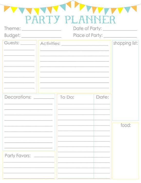 Birthday Planner Template Best  Party Planning Printable Ideas On