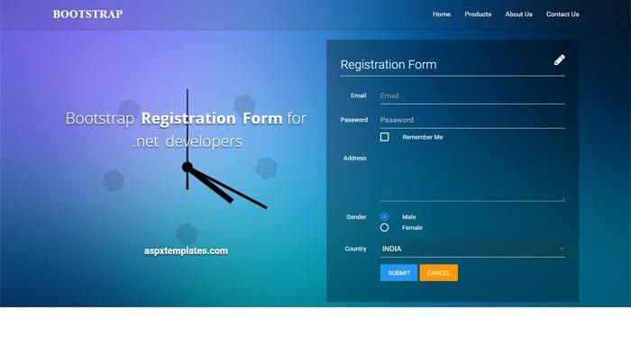 free bootstrap registration form
