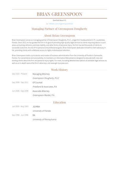 Managing Attorney Resume samples - VisualCV resume samples database