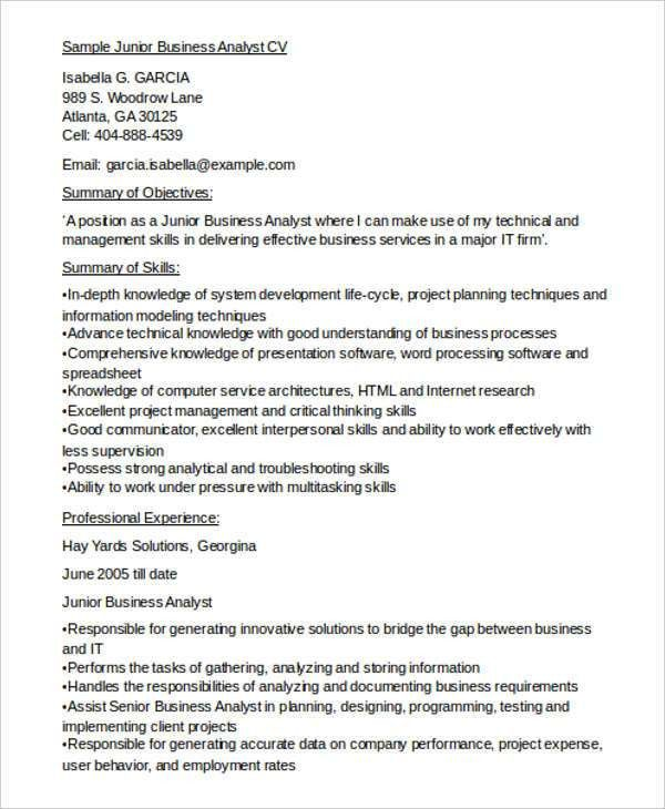 10+ Business Analyst CV Templates - Free Samples, Examples Format ...