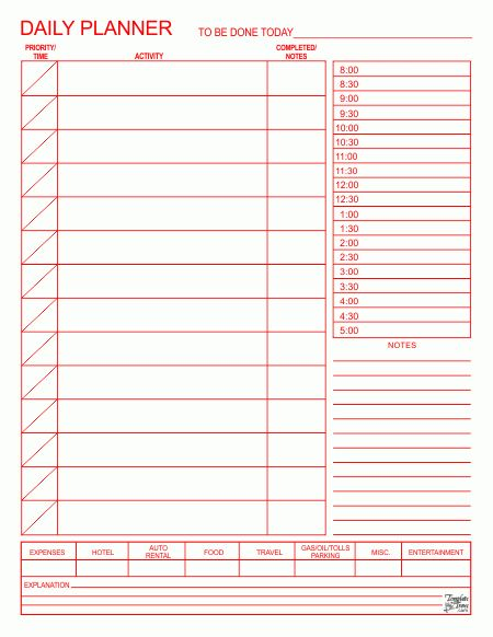 Printable Daily Planner Template Printable Daily Calendar Forms ...