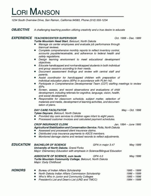 Teaching Resume Objective Line. teacher resume objective special ...