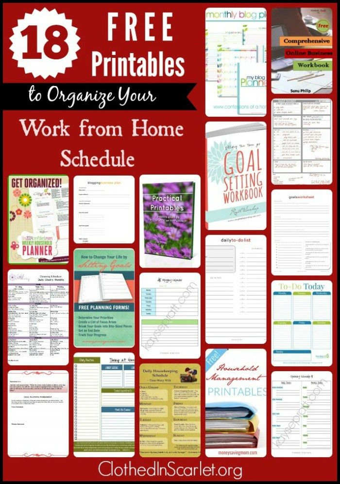 Free Printables to Organize Your Work from Home Schedule