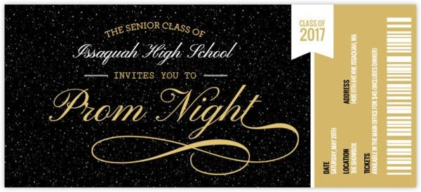 Prom Ticket Stub Prom Invitation | Prom Invitations