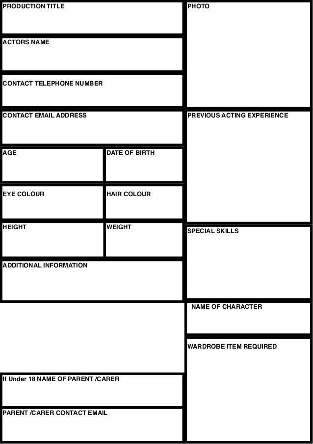 Casting sheet template