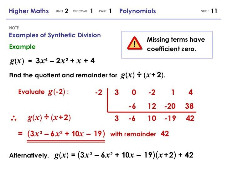 Higher Maths 2.1.1 - Polynomials