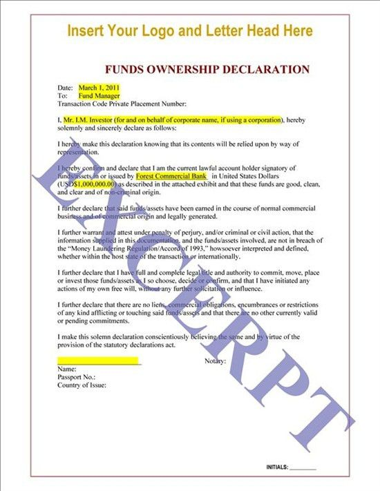 Funds Ownership Declaration Letter: REALCREFORMS