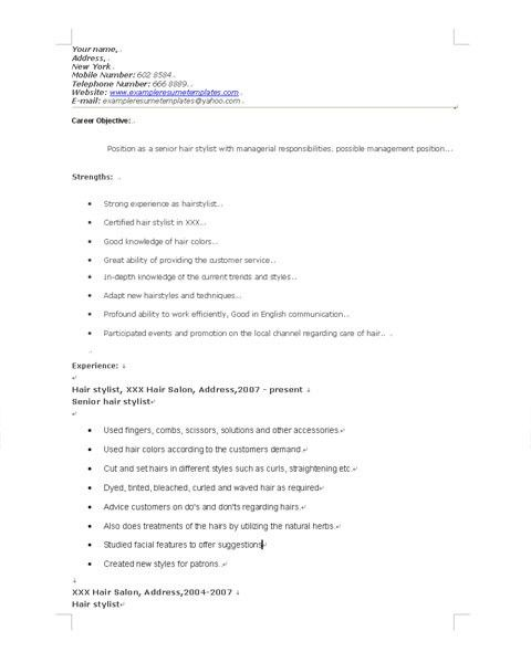 Excellent Resume Examples For Hair Stylist Job : Vntask.com