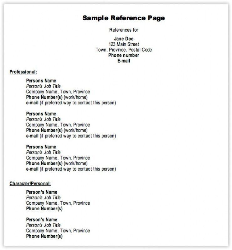 how to write a reference page for resume