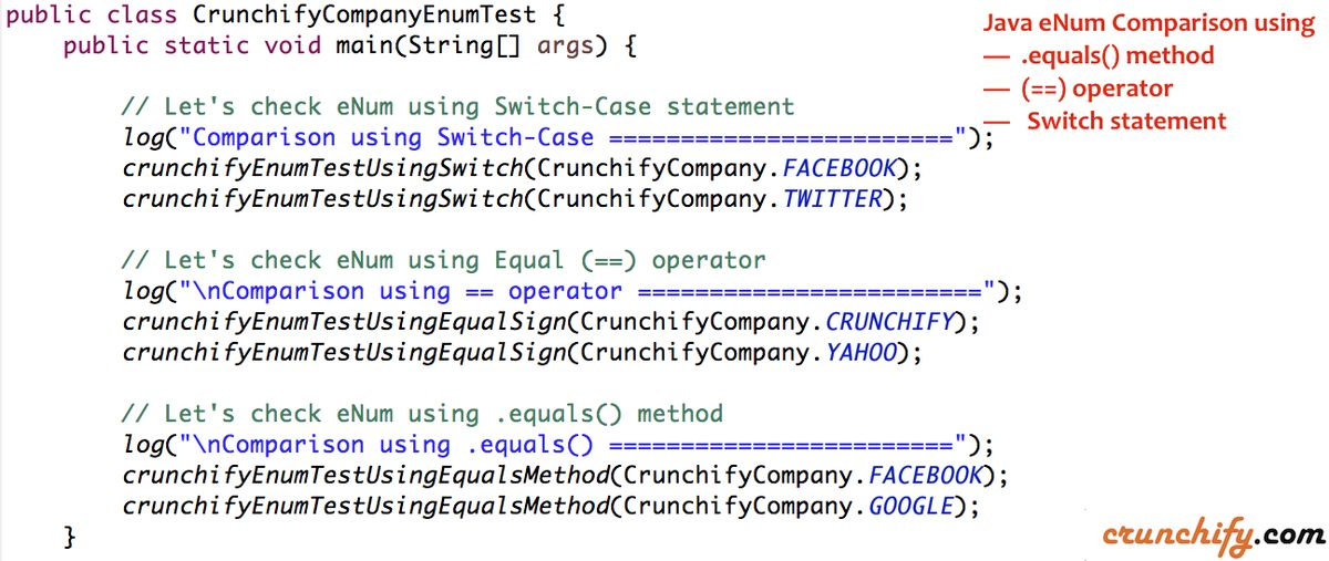 Java eNum Comparison using Equals (==) operator, Switch-Case ...