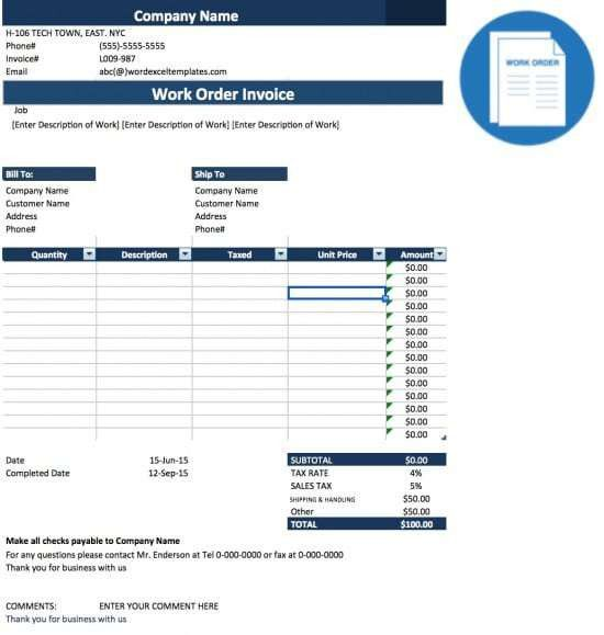 Free Work Order Invoice Template | Excel | PDF | Word (.doc)