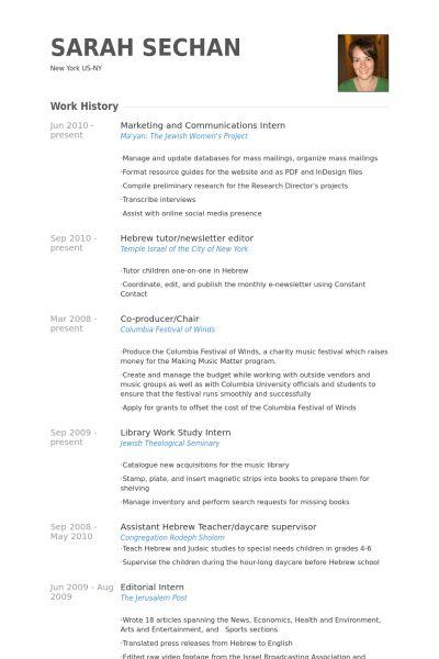Marketing And Communications Intern Resume samples - VisualCV ...