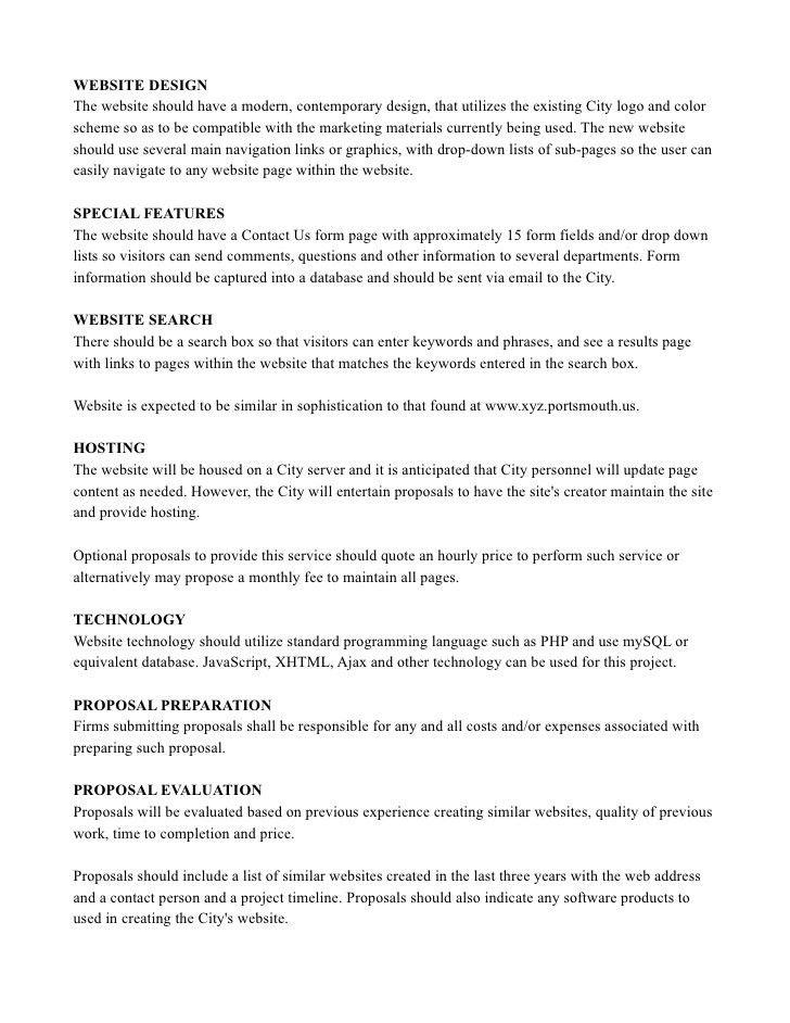 Basic Website RFP Sample