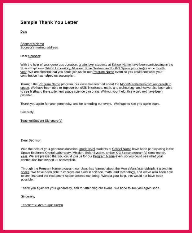 Sponsor Thank You Letter. Sponsor Thank You Letter Examples ...