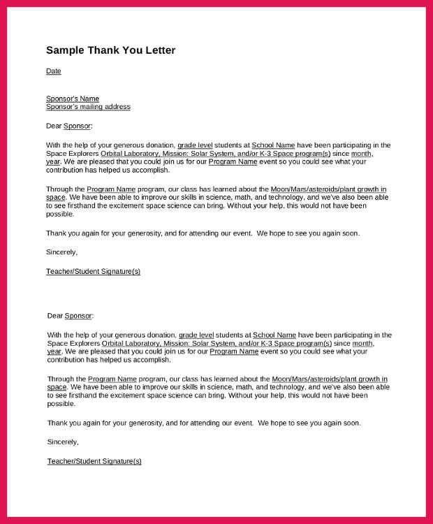 Sponsor Thank You Letter. 11+ Sponsor Letter Sample For Student ...