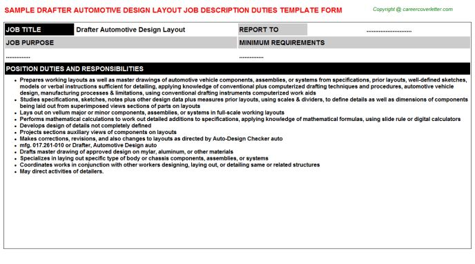 Drafter Automotive Design Layout Job Description