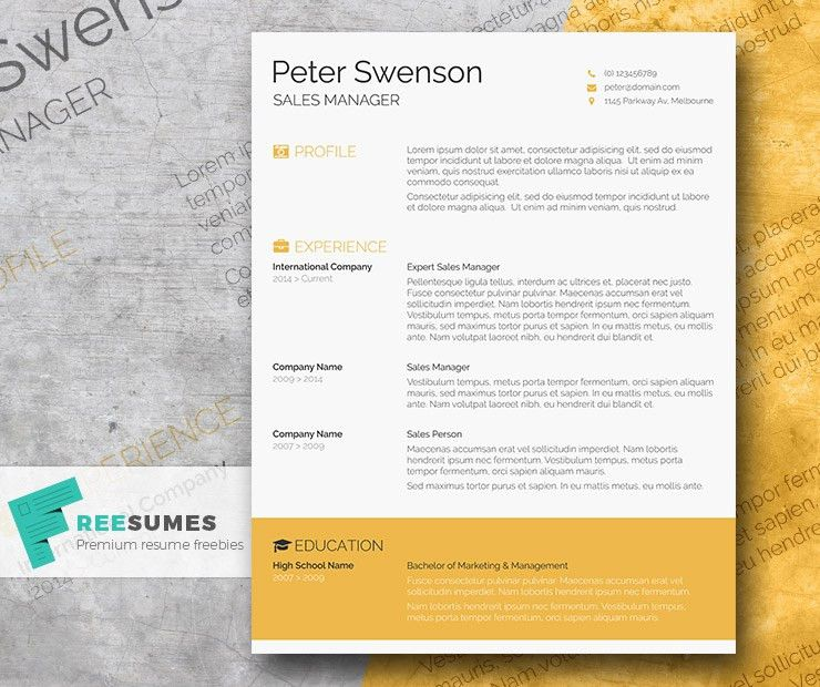 Goldenrod Yellow – A Free Clean Word Resume Template