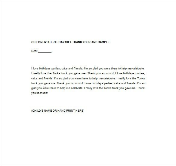 Thank You Note For Gift – 9+ Free Word, Excel, PDF Format Download ...