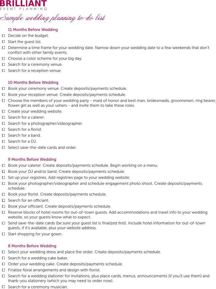 To Do List For Wedding | free to do list