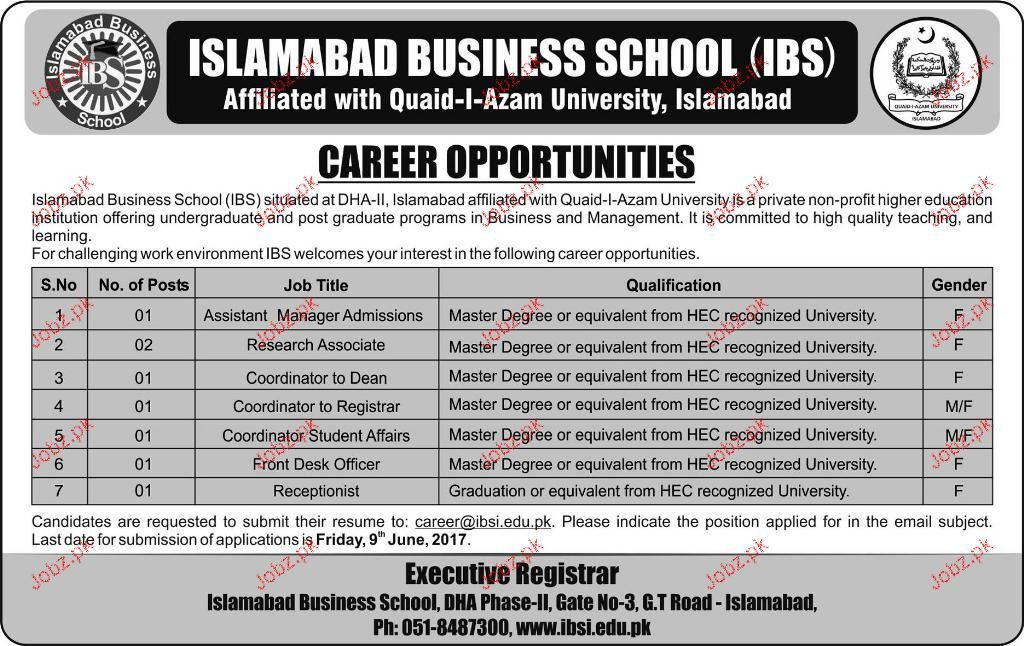 Assistant Managers Job in Islamabad Business School IBS 2017 Jobs ...
