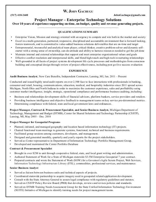 Resume for John Gachugu - Project Management