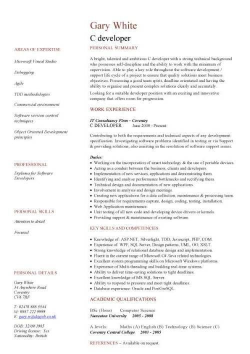 one year experience resume format for php experience resume. java ...