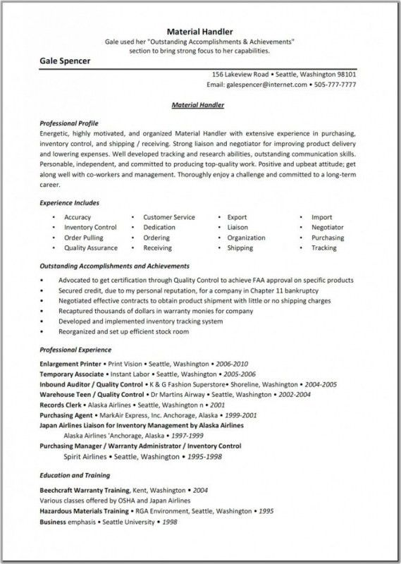Purchasing And Inventory Clerk Resume - Ecordura.com