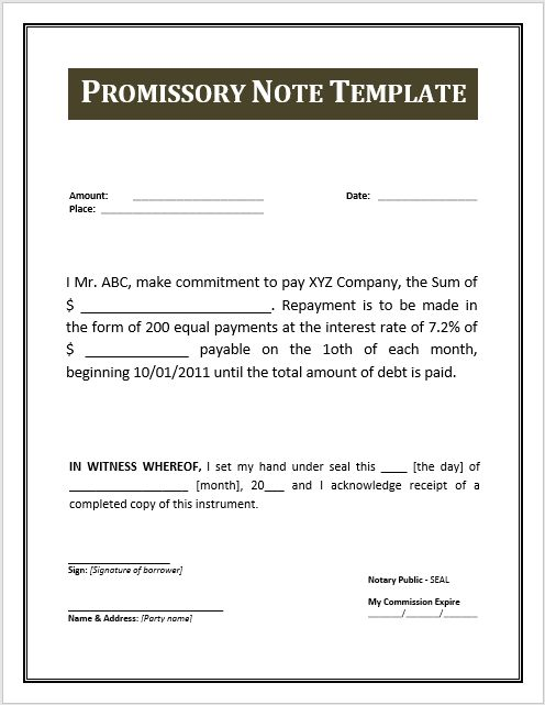 Free Promissory Note Templates - Resume Templates