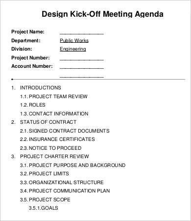 Kickoff Meeting Agenda Template - 9+ Free Sample, Example, Format ...