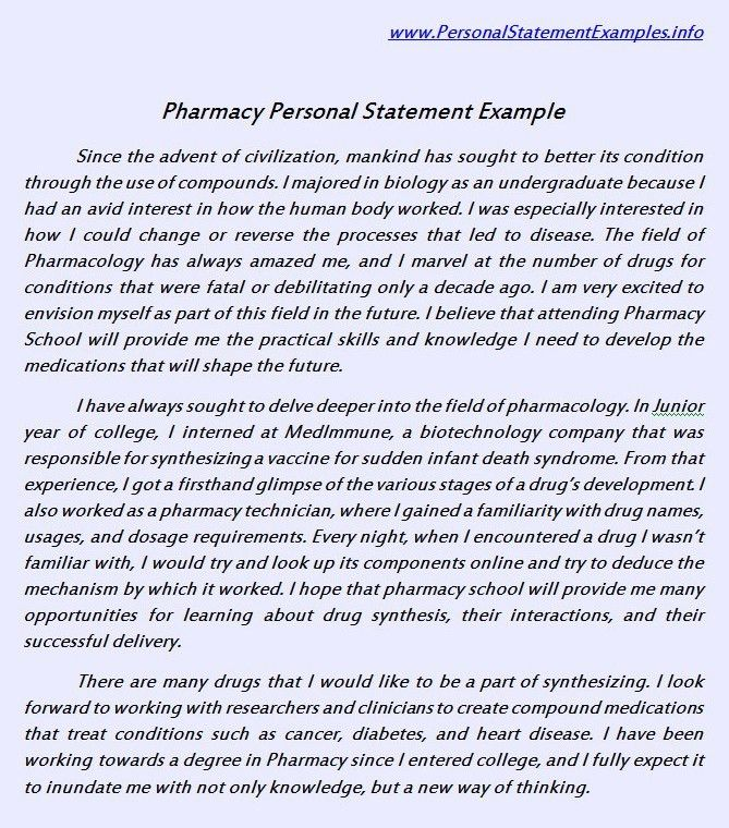 Useful Pharmacy Personal Statement Example http://www ...