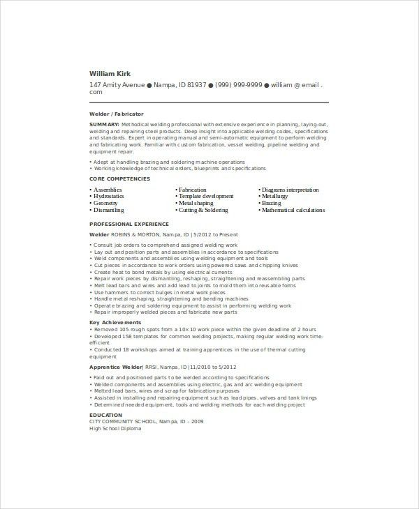 Sample Welder Resume Unforgettable Examples To
