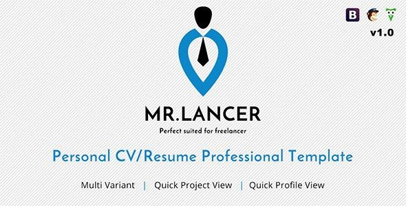 Mr.Lancer - Personal CV/Resume template by phoenixcoded | ThemeForest