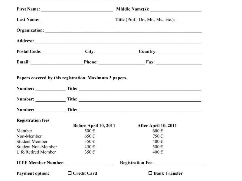 Registration Template Word Printable Registration Form Templates – Student Registration Form Template