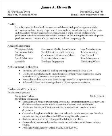 Download Production Supervisor Resume | haadyaooverbayresort.com