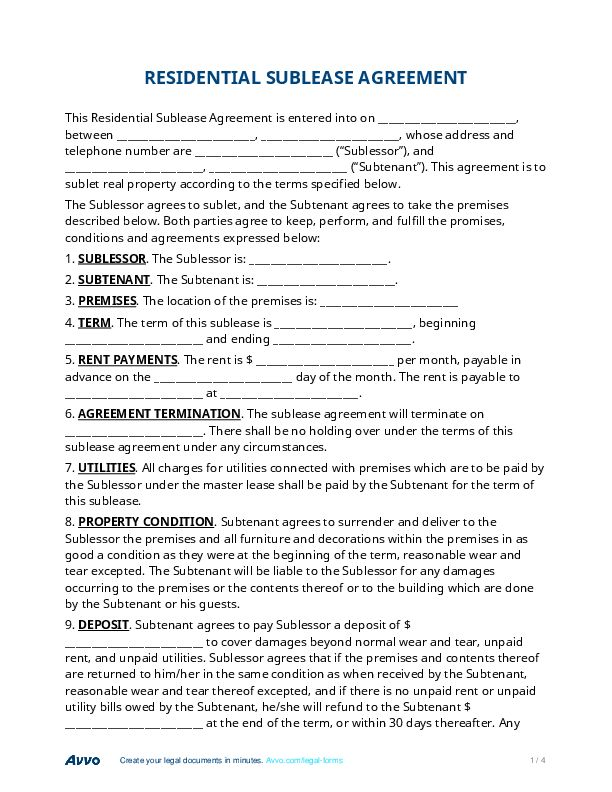 Sublease Agreement - Find Forms, Templates and Samples for Free