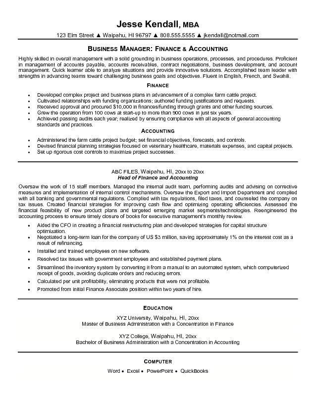Free Finance and Accounting Resume Example