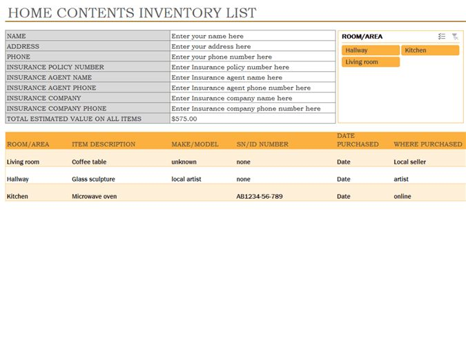 Inventory of home contents - Office Templates