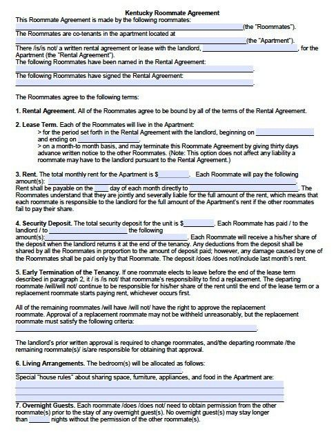 Free Kentucky Sublease/Roommate Agreement Form – PDF Template ...