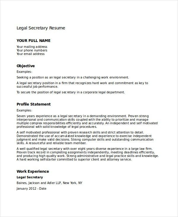 Secretary Resume - 8+ Free PDF, Word Documents Download | Free ...
