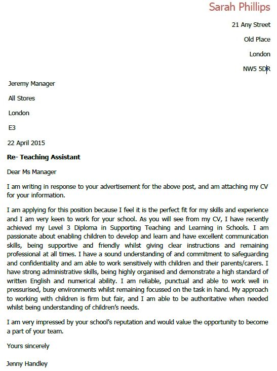 Teacher Assistant Cover Letter inside Teaching Assistant Cover ...