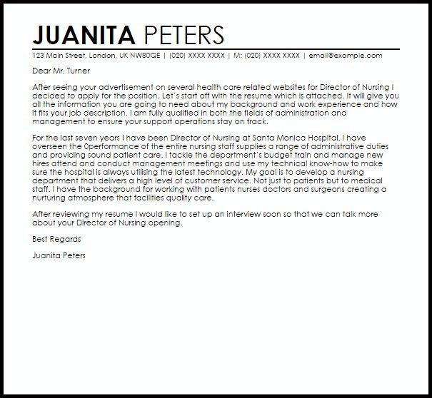 Director Of Nursing Cover Letter Sample   LiveCareer