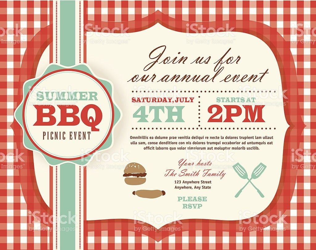 Picnic Invitation Design Template Horizontal Red And Teal Cute ...