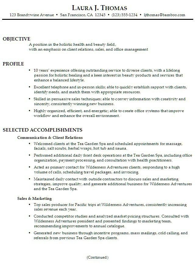 resume objective examples sales sales resume objective samples
