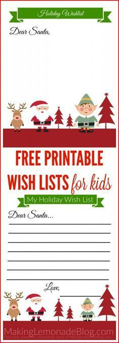 Christmas Gift Wish Lists for Kids {Free Printable} | Kids letters ...