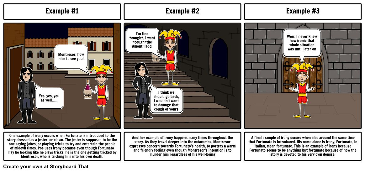 The Cask of Amontillado Irony Storyboard by lorenzoocone-krause