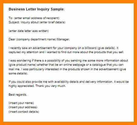 Example Of Inquiry Letter For Product [Template.billybullock.us ]