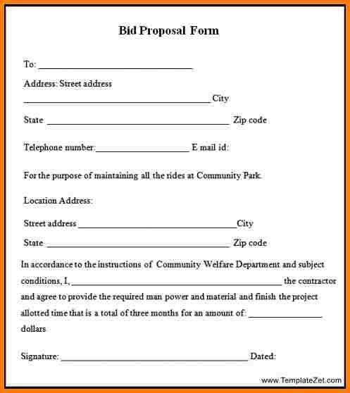 11+ bid proposal form | Proposal Template 2017