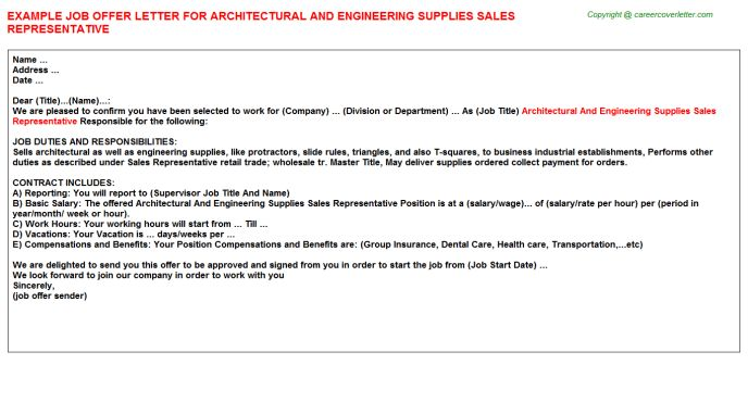 Architectural And Engineering Supplies Sales Representative Offer ...