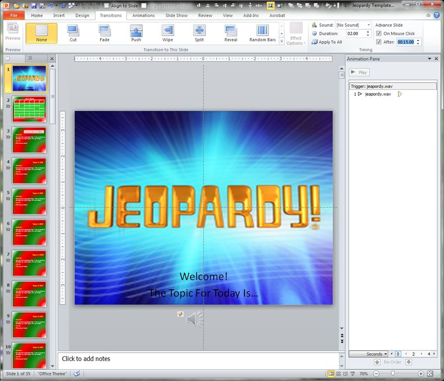 Making a Jeopardy Game Board in PowerPoint to Supplement Your ...