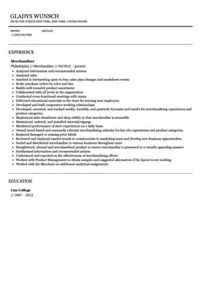 Merchandiser Resume Sample | Velvet Jobs